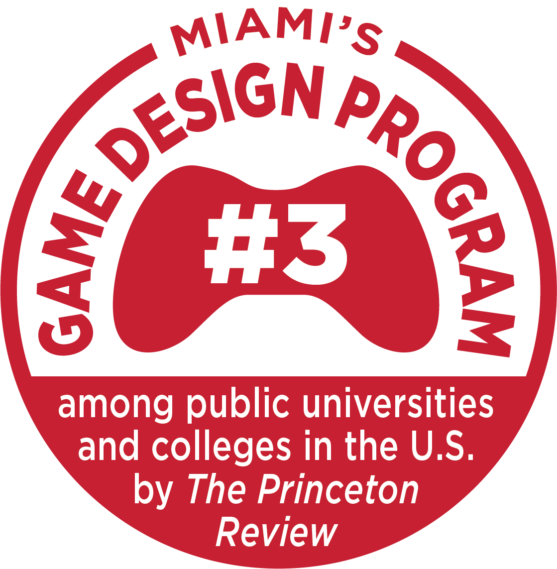 Miami's game design program number 3 among public universities in the U.S. by the Princeton Review