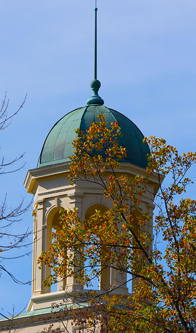up close view of a cupola on Miami's campus