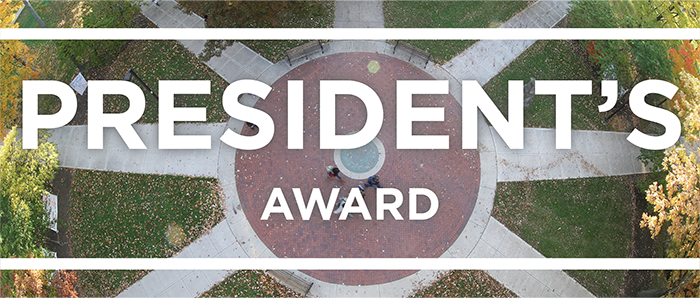 White text that says President's Award on top of a photo of the Miami seal