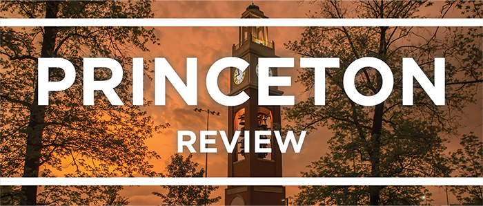 White text that says Princeton Review on top of a photo of Pulley Bell Tower with an orange sunset