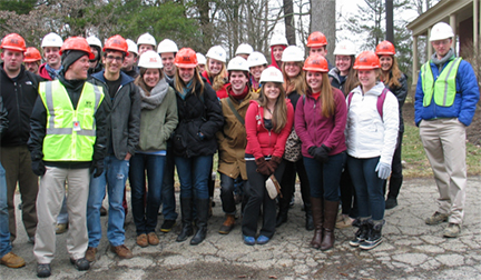 Urban planning class tours campus construction