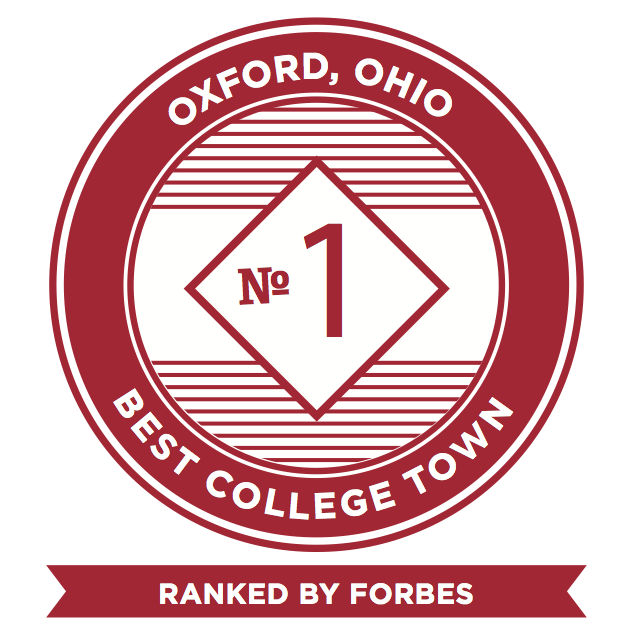 Oxford Ohio #1 Best College Town ranked by Forbes badge.