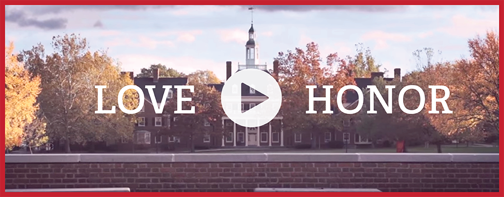 the words love and honor and a play button overlaying a photo of McCracken Hall