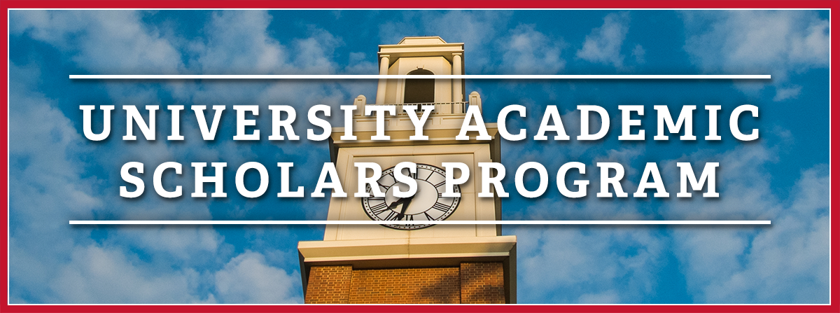 Text - University Academic Scholars Program - laid over an image of Pulley Bell Tower and the blue sky