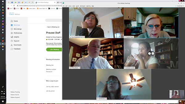 Provost in WebEx meeting with senior staff