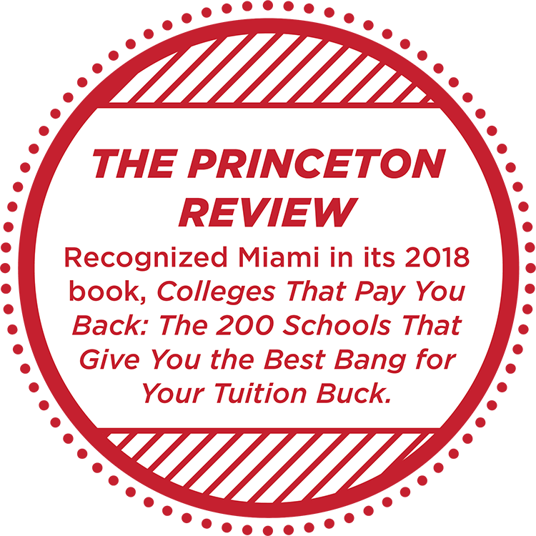 The Princeton Review recognized Miami as a top 200 school 'college that pays you back' in 2018.