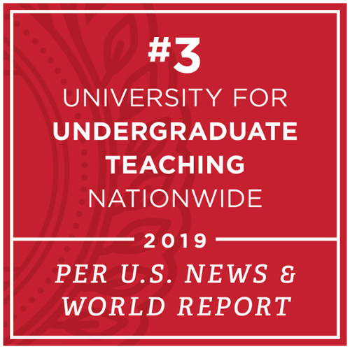 Number 3 for Undergraduate Teaching Nationwide by U.S. News and World Report in 2019.