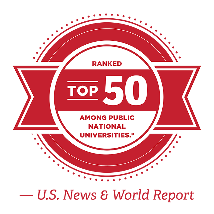 Ranked Top 50 among public national universities, per U.S. News and World Report