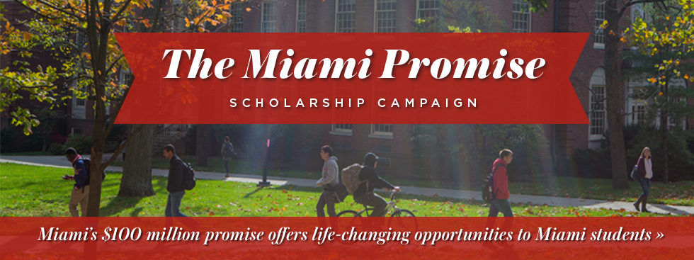 The Miami Promise Scholarship Campaign. Miami's $100 million promise offers life-changing opportunities to Miami students » Photo of students walking and biking across campus