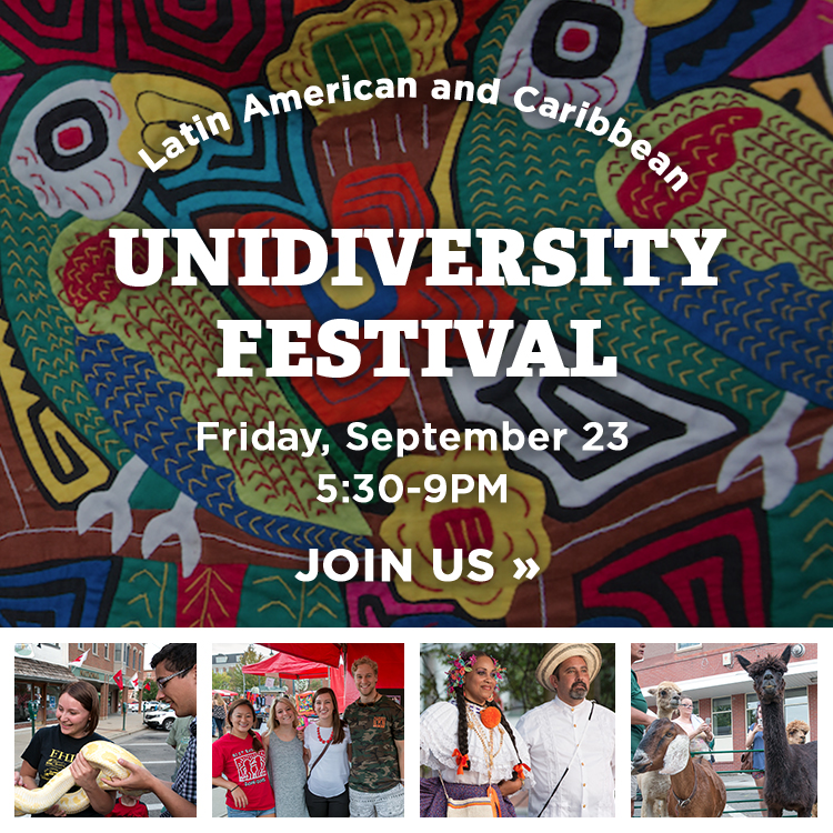Latin American and Caribbean Unidiversity Festival. Friday Sept 23, 5:30-9pm. Join us » Photos of performers dancing, students petting a snake, and llamas