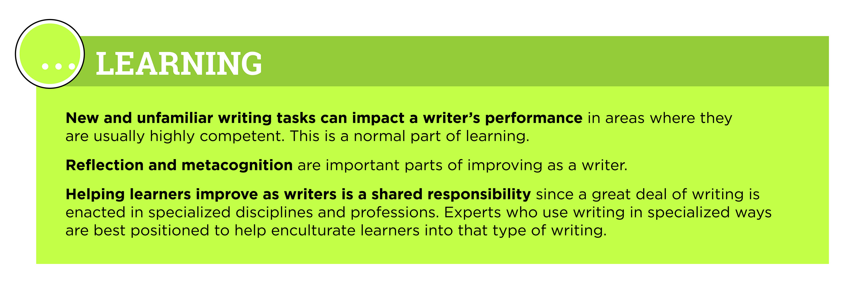 New and unfamiliar writing tasks can impact a writer's performance in areas where they are usually highly competent. This is a normal part of learning. Reflection and metacognition are important parts of improving as a writer. Helping learners improve as writers is a shared responsibility since a great deal of writing is enacted in specialized disciplines and professions. Experts who use writing in specialized ways are best positioned to help enculturate learners into that type of writing.