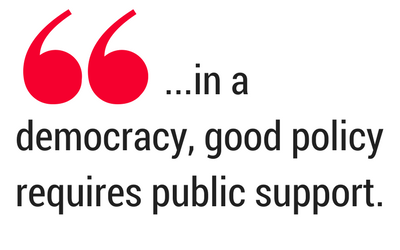 Emphasized quotation. Text: ... in a democracy, good policy requires public support.