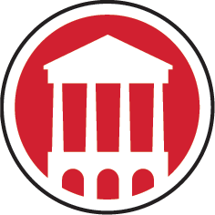 An red circle icon with an image of a white building