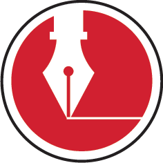 A red circle icon with a white fountain pen drawing a white line