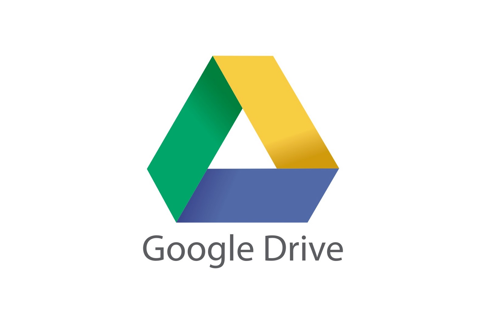 Triangle with a green side, a yellow side, and a blue side and the words Google Drive below it