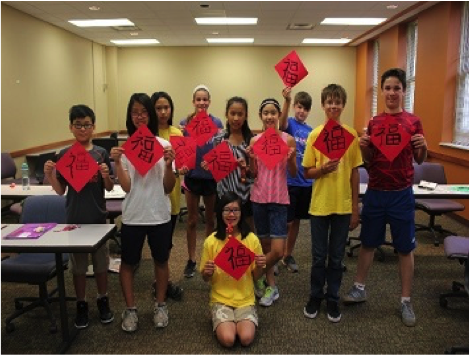 Students learn calligraphy at Chinese Culture Camp