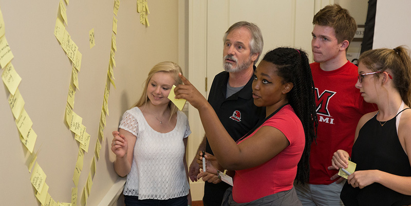 Jim Friedman works with students on developing their skills in creativity.