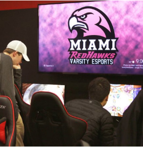 Miami's varsity RedHawks esports teams, League of Legends, Hearthstone and Overwatch, train in the esports arena.