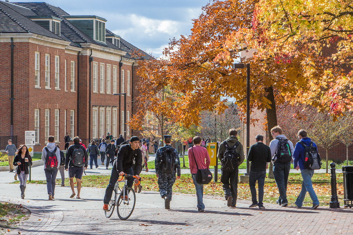 Miami University students change classes on an October day.