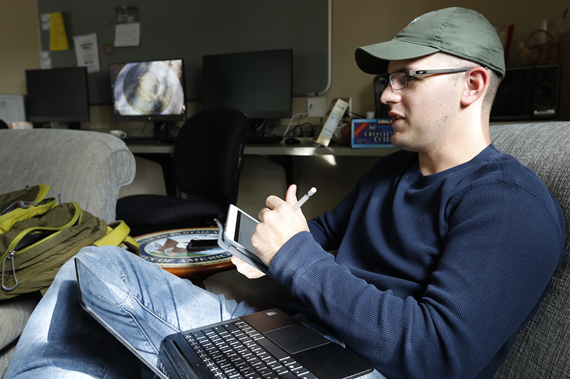 Jared Vreeland spends time in the Student Veterans' Center on Miami's Oxford campus.