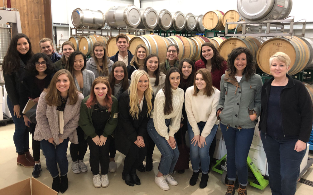 Beth Troy (second from right) with her women in entrepreneurship class during a visit with Kathleen Inman (far right) of Inman Family Wines in California.