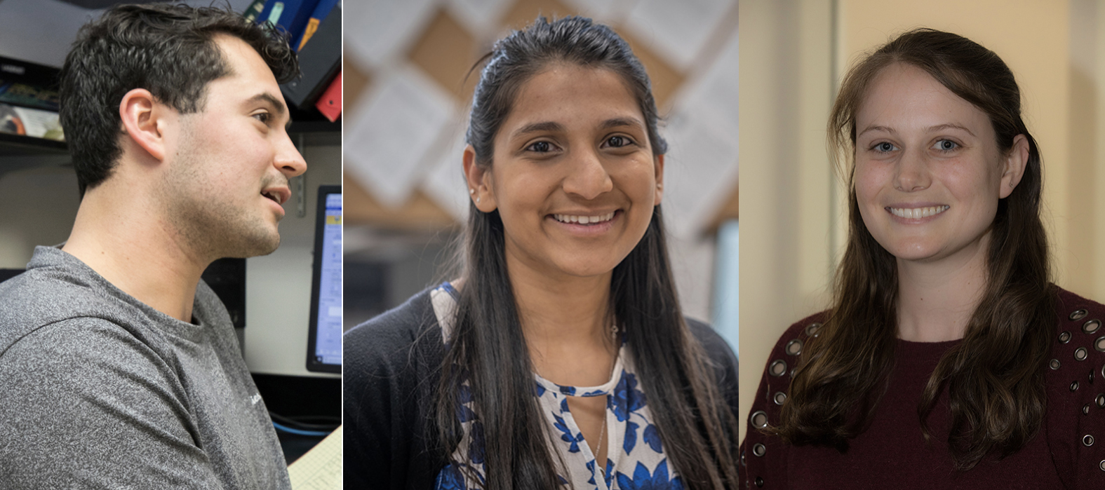 Miami doctoral students (left to right) Jared Tangeman, Akanksha Das and Shelby Ortiz were awarded NSF Graduate Research Fellowships.