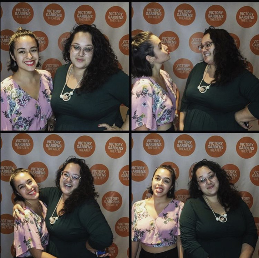 Chrisina Casano and Cara Hinh pose for a set of Photo Booth pictures at a conference for Asian American artists in Chicago.
