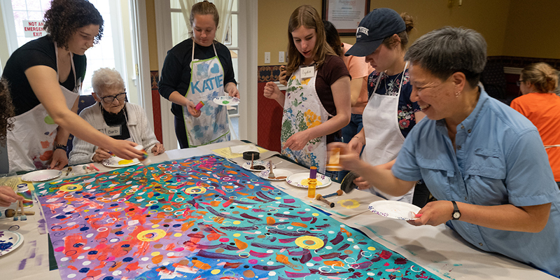 Opening Minds Through Art members work with residents at The Knolls of Oxford.