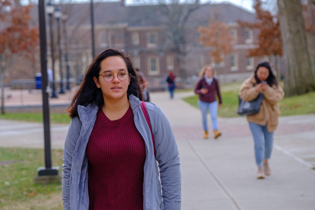 Addie walks through campus.