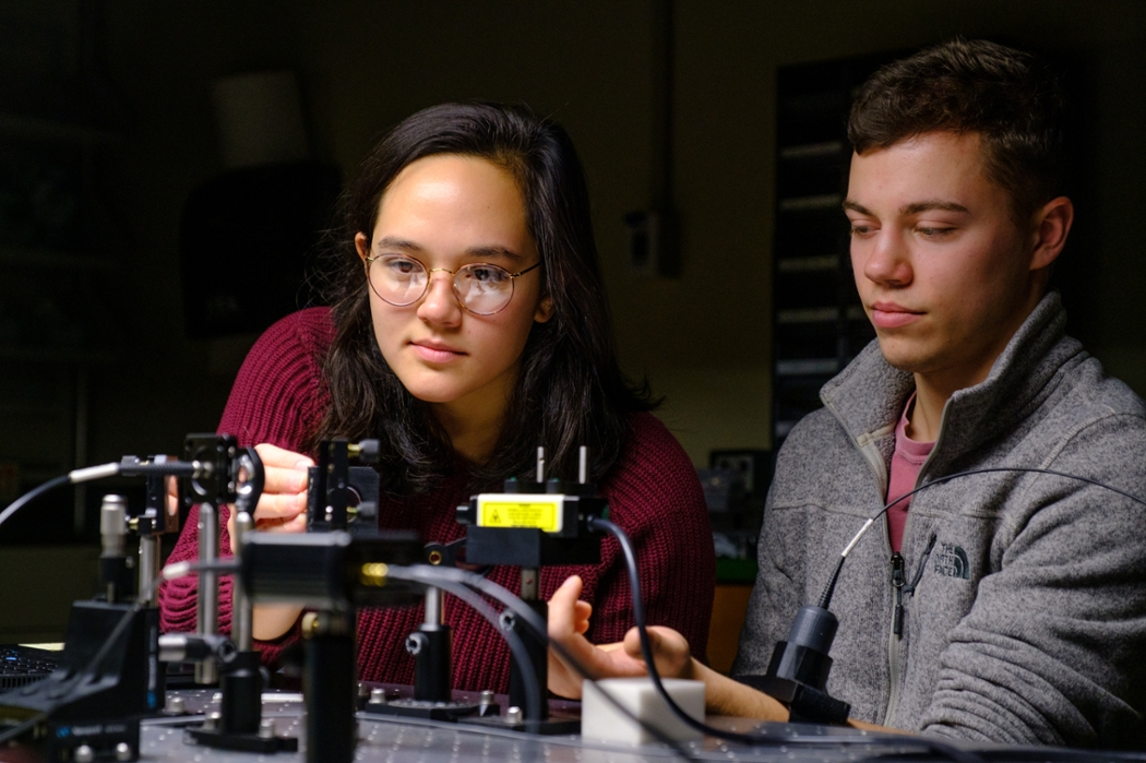 Addie Joson (Miami '19) inside Miami's Optical Spectroscopy and Imaging Methods Lab.
