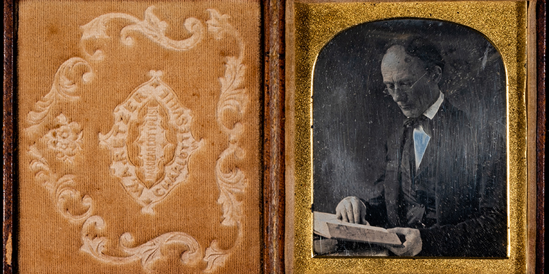 Daguerreotype of William Holmes McGuffey, taken in Charlottesville, Virginia in 1848, is possibly the earliest photograph of a Miami University professor (McGuffey taught at Miami from 1825-1836).
