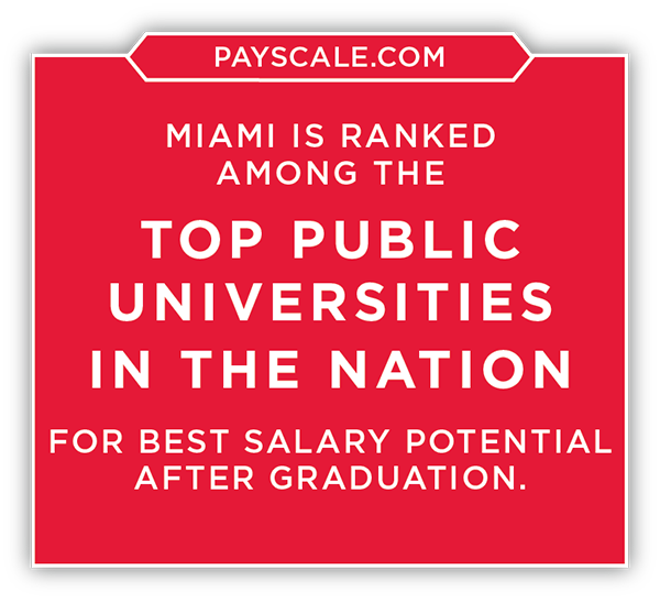 Payscale.com-Miami is ranked among the top public universities in the nation for best salary potential after graduation