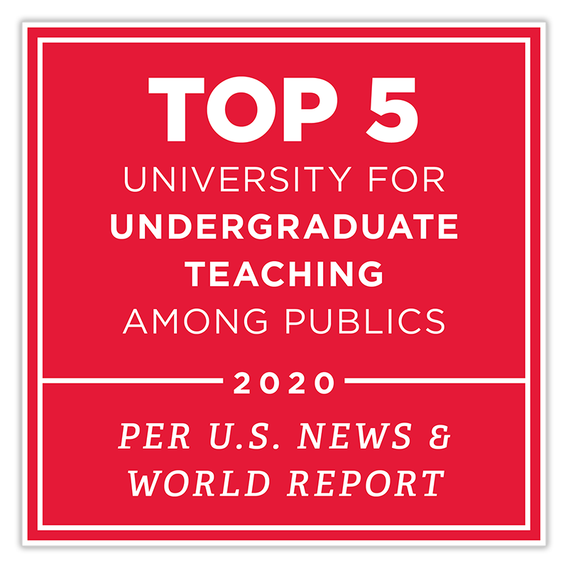 TOP 5 university for undergraduate teaching among publics - 2020 - Per U.S. News and World Report