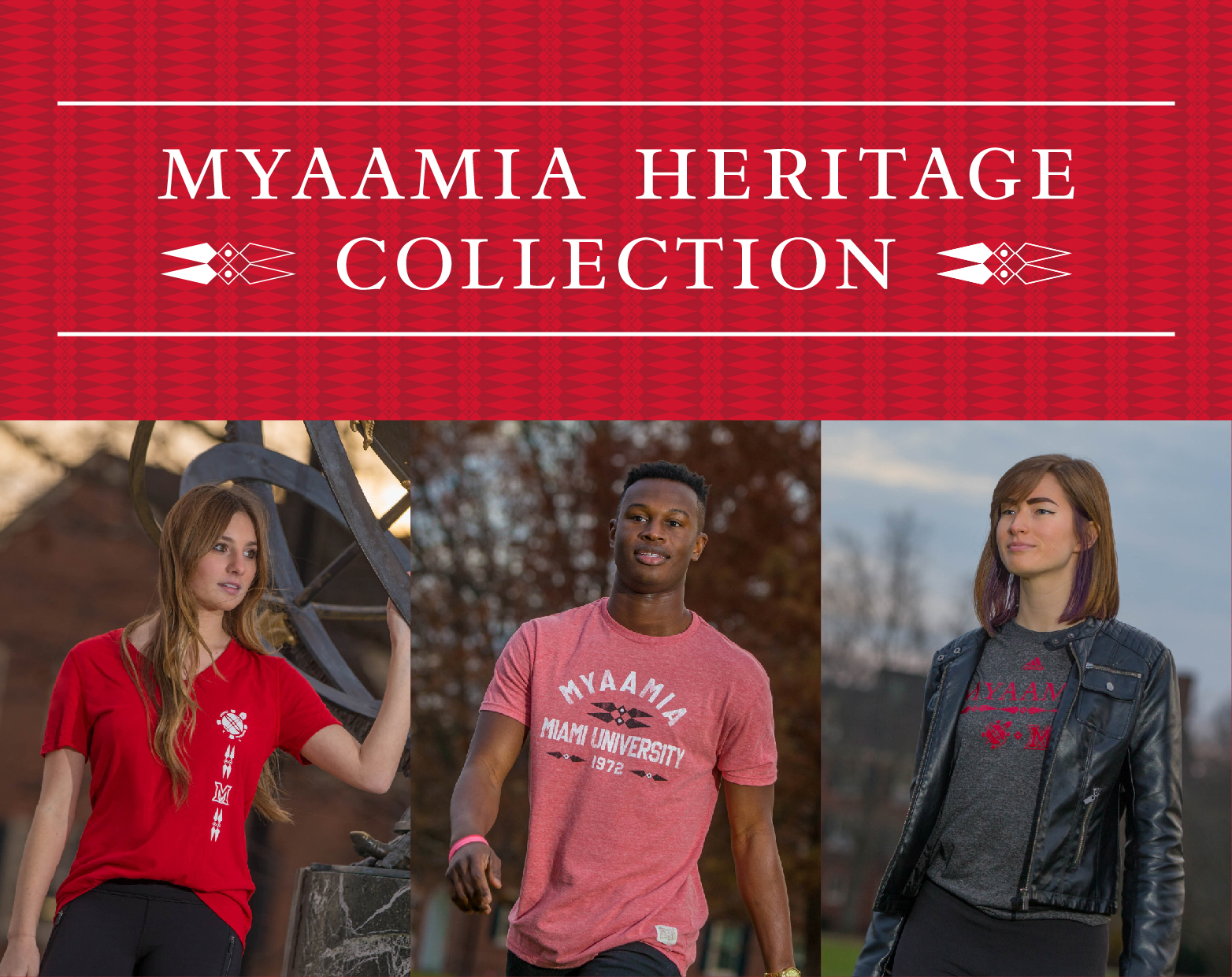 Myaamia Heritage Collection. Students modeling Myaamia Heritage Collection merchandise.