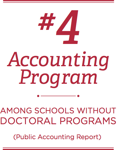 #4 accounting program among schools without doctoral programs (Public Accounting Report)
