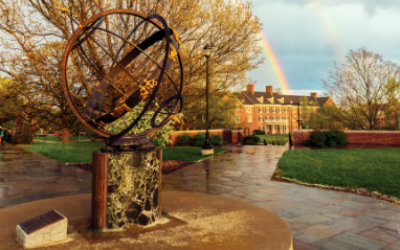 Rainbow over sundial in Central Quad