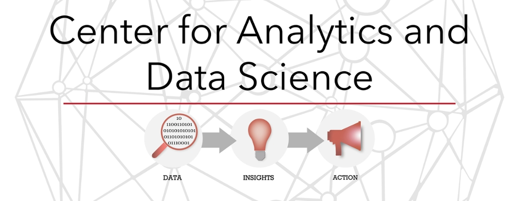center for analytics and data science: small logos showing the process of data into information into insight into innovation