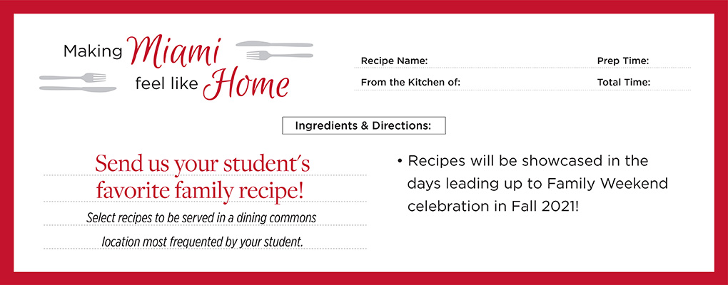 Send us your student's favorite recipes!