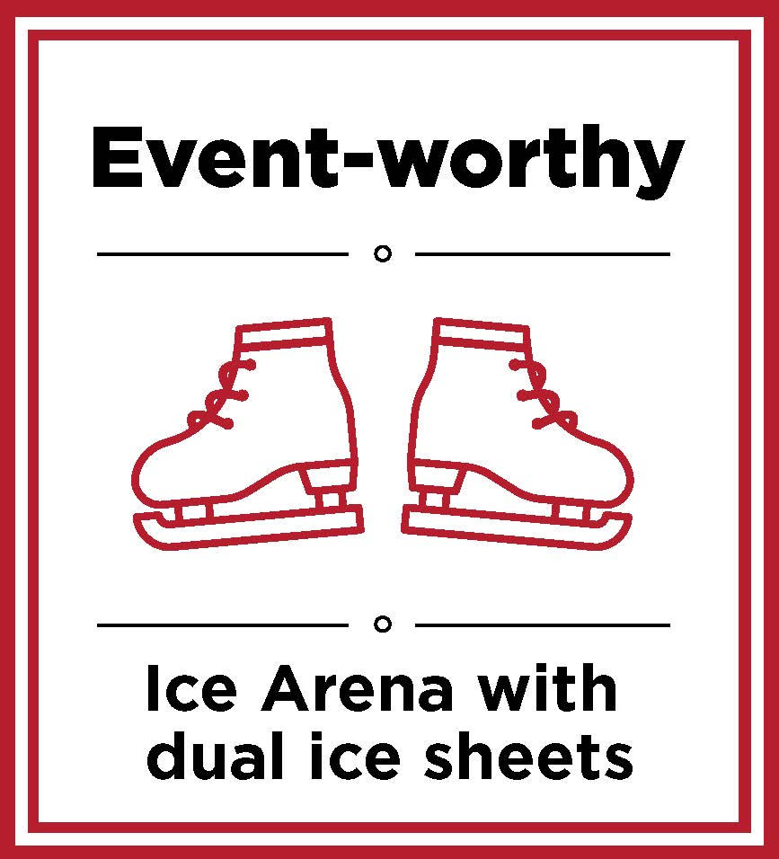 Event-worthy ice arena with dual ice sheets
