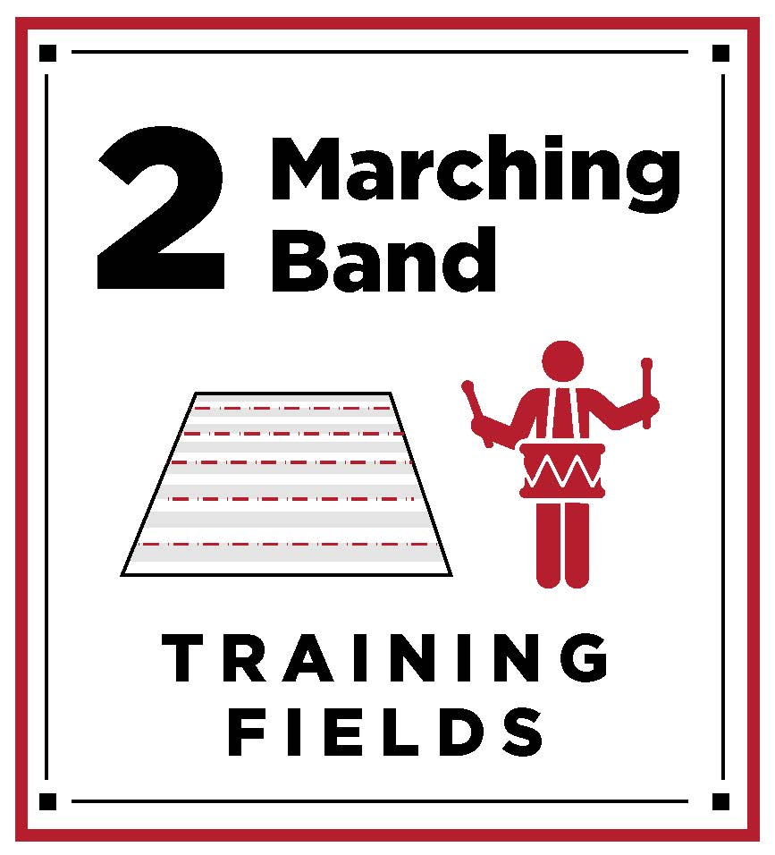 Two marching band training fields
