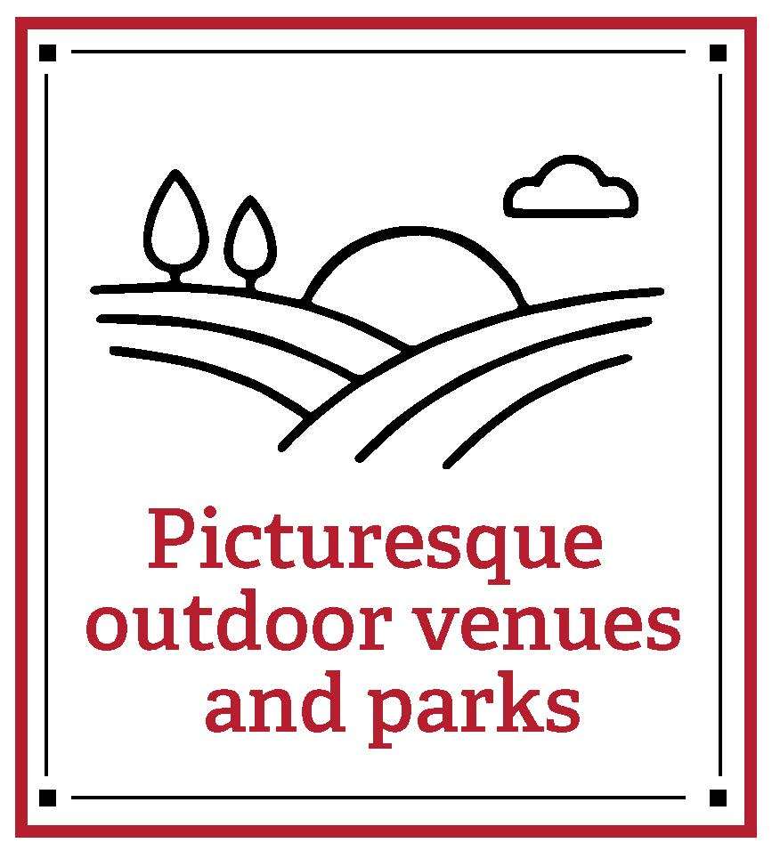 Picturesque outdoor parks and venues