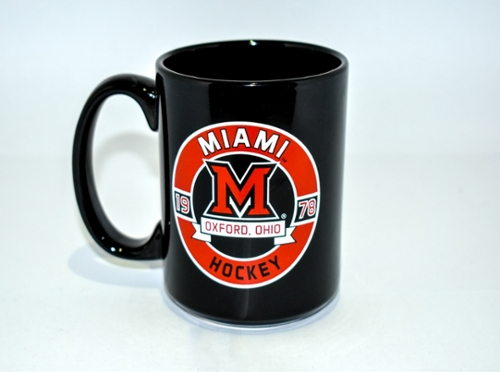 "Shown is an image of a black coffee Mug, that says: ""Miami University, 19... 78... Hockey."""