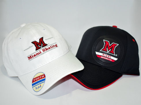 "Shown is a photo of two hats. One says ""Miami Skating,"" the other says ""Miami University."""