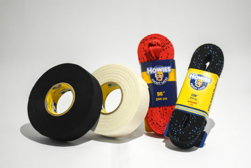 Shown is a photo of a group of sports tape, and laces