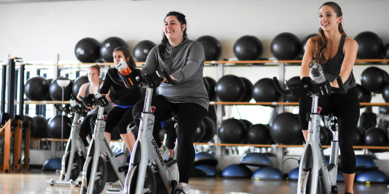 Students in a spinning class