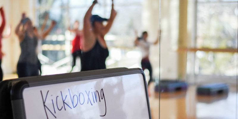 Students in a kickboxing class