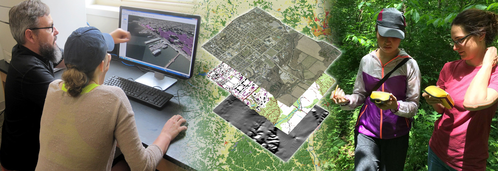 photo collage of geospatial analysis field and lab activities, as well as layered maps