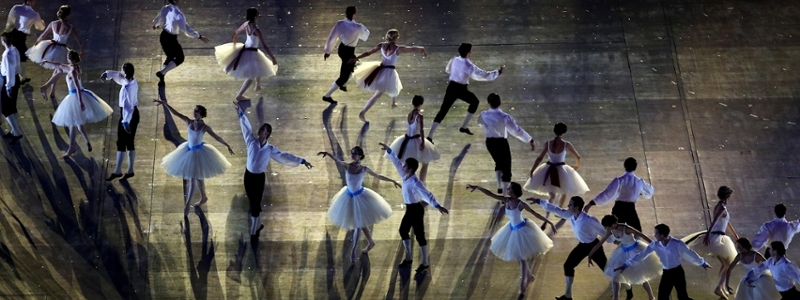 A Russian ballet troupe performs onstage