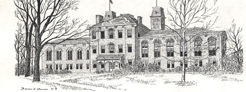 Drawing of Old Main, also known as Harrison Hall