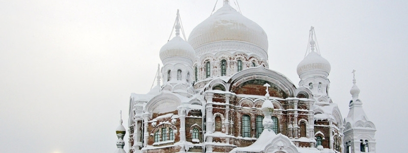A Russian church covered in snow
